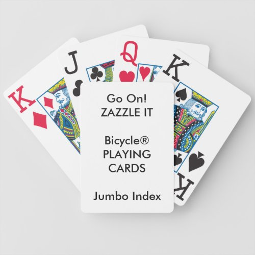 Custom Print Bicycle JUMBO INDEX Playing Cards