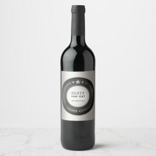 CUSTOM PRINT DIY MEDAL Silver Champion EDITABLE Wine Label