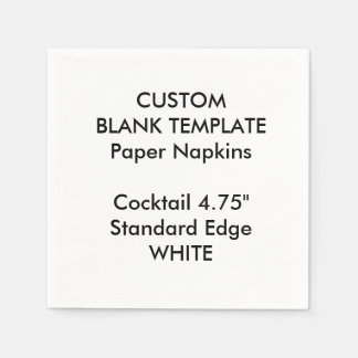 Custom Print Small WHITE Cocktail Paper Napkins