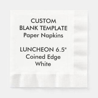 Custom Print White Coined LUNCHEON Paper Napkins