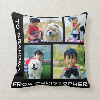 Custom Printed Four Photo Collage Mosaic Pillow
