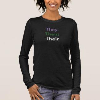 Custom Pronoun Genderqueer Long Sleeve T-Shirt