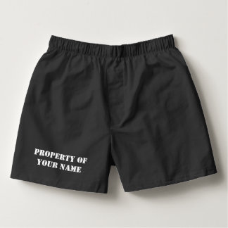 Custom PROPERTY OF black boxer shorts for men