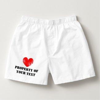 Custom PROPERTY OF heart boxer shorts for men