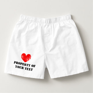 Custom PROPERTY OF heart boxer shorts for men