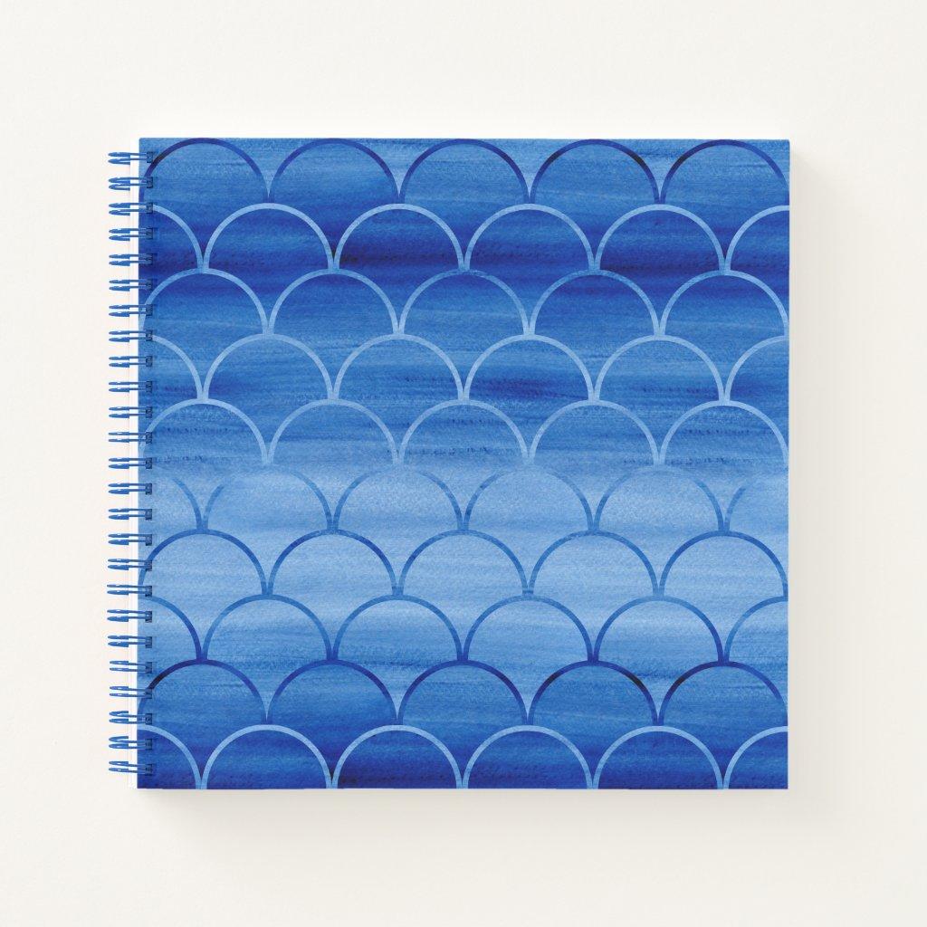 Custom Prussian Blue Watercolor Scale Pattern Notebook