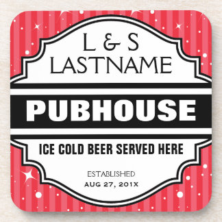 Custom Pub Home Bar Beer Sign for Couples Coaster