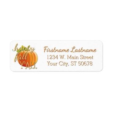 Halloween Themed Custom Pumpkin Happy Fall Yall Label
