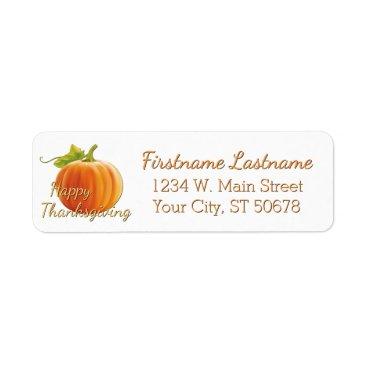 Halloween Themed Custom Pumpkin Happy Thanksgiving Label