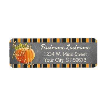 Halloween Themed Custom Pumpkin Orange Green Stripes Pattern Label