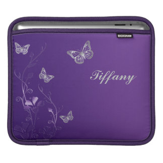 Custom Purple and Silver Flowers and Butterflies Sleeve For iPads