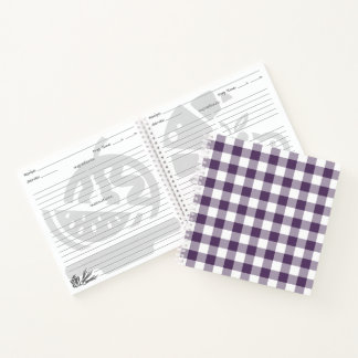 Custom Purple and White Checked Plaid Notebook