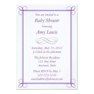 "Custom Purple Baby Shower Invitation 5"" X 7"" Invitation Card"