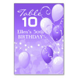 Custom Purple Balloons Coordinating Table Card