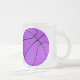 Custom Purple Basketball Frosted Glass Coffee Mug