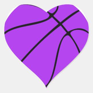 Custom Purple Basketball Heart Sticker