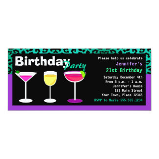 Custom Purple Birthday Cocktail Party Teal Leopard Card