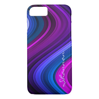 Custom Purple / Blue Abstract Waves iPhone 7 case