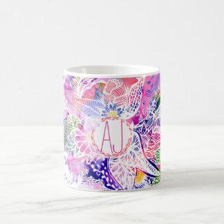 custom purple  blue watercolor abstract floral coffee mug
