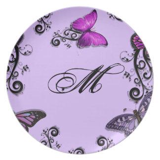 Custom Purple Butterflies Party Plates