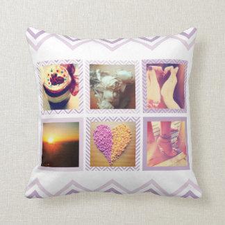 Custom Purple Chevron Instagram Throw Pillow