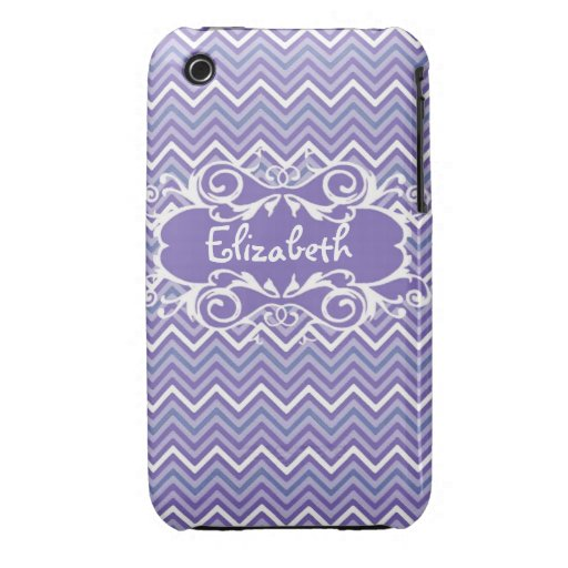 Custom Purple Chevron Name case Case-Mate iPhone 3 Case
