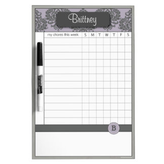 Custom Purple Damask Chore Chart Dry Erase Board
