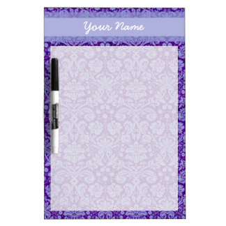 Custom Purple Damask Dry-Erase Board