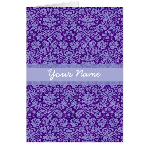 Custom Purple Damask Greeting Card