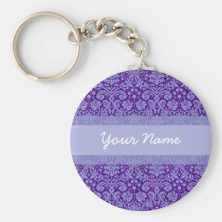 Custom Purple Damask Keychain