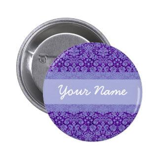 Custom Purple Damask Pinback Button
