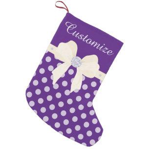 custom purple dotted wcream bow diamonds small christmas stocking - Purple Christmas Stocking
