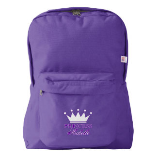 Custom purple girls backpack with princess crown