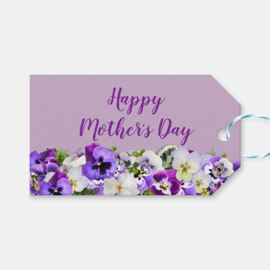 Custom Purple Happy Mothers Day Gift Tags Zazzlecom