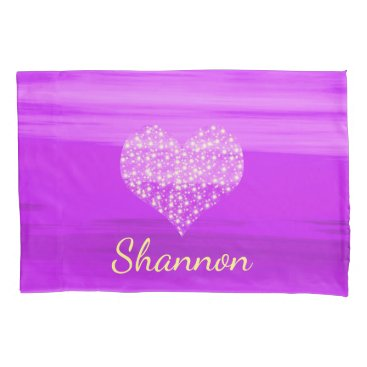 Valentines Themed Custom purple heart with shining stars with name pillowcase