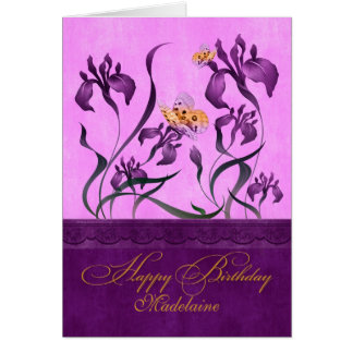 Custom Purple Iris Garden Birthday Card