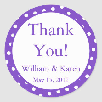 Custom Purple Thank You Stickers and Favor Labels