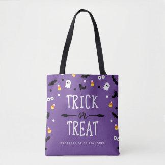 Custom Purple Trick or Treat Halloween Bags