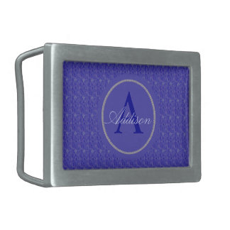 Custom Purple Weave Monogram Rectangular Belt Buckle