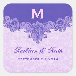 Custom Purple Wedding Names Date S431 Square Sticker
