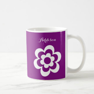 Custom Purple White Classic Mug With White Flower