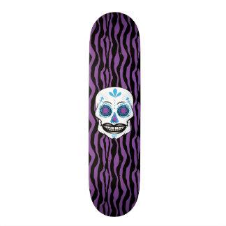 Custom Purple Zebra Print Blue Candy Skull Deck