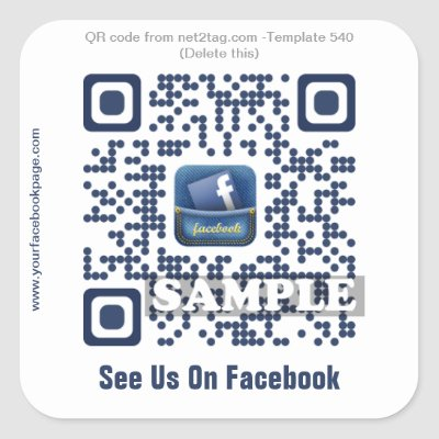 Facebook QR Code Sticker (Template Net2tag QR#539) | Zazzle.com