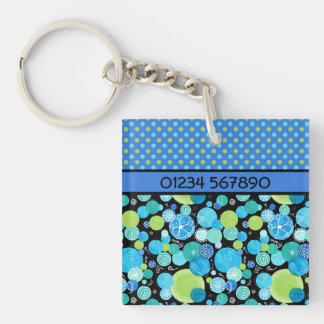 Custom Quirky Blue Moons Double-sided Keychain