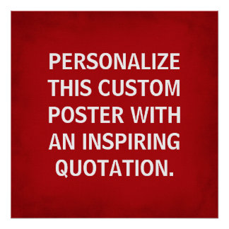 Custom Quote Poster, red inspirational typography Poster