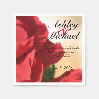 Custom Quote Red Floral Wedding Paper Napkins