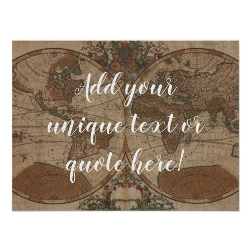 Custom Quote  Text Vintage Map Background Poster