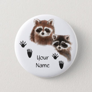 Custom Raccoons with Footprints Pinback Button