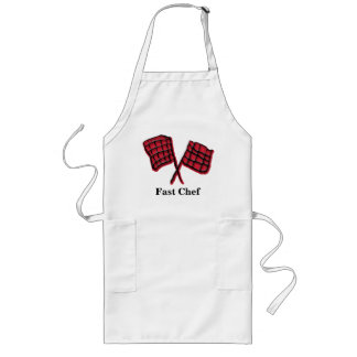 Custom race flag with text fast chef long apron