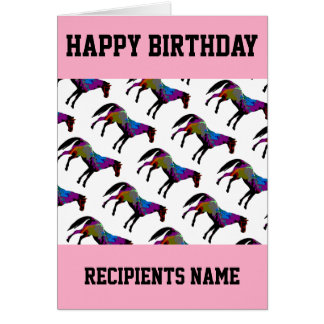 Custom Racehorse Birthday Card